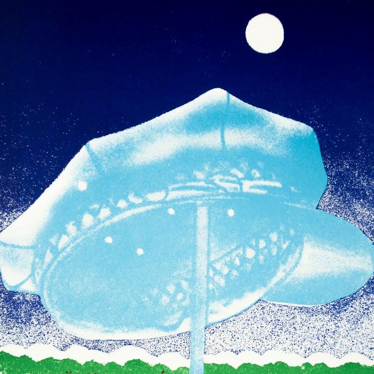 James Rosenquist Vintage Poster: Galleria del Milione 1972 full moon landscape - White Print by James Rosenquist