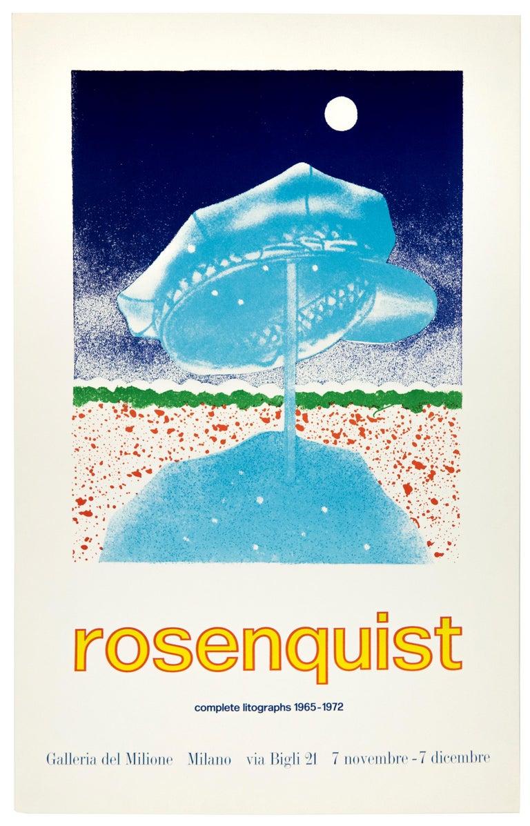 James Rosenquist Vintage Poster: Galleria del Milione 1972 full moon landscape - Print by James Rosenquist