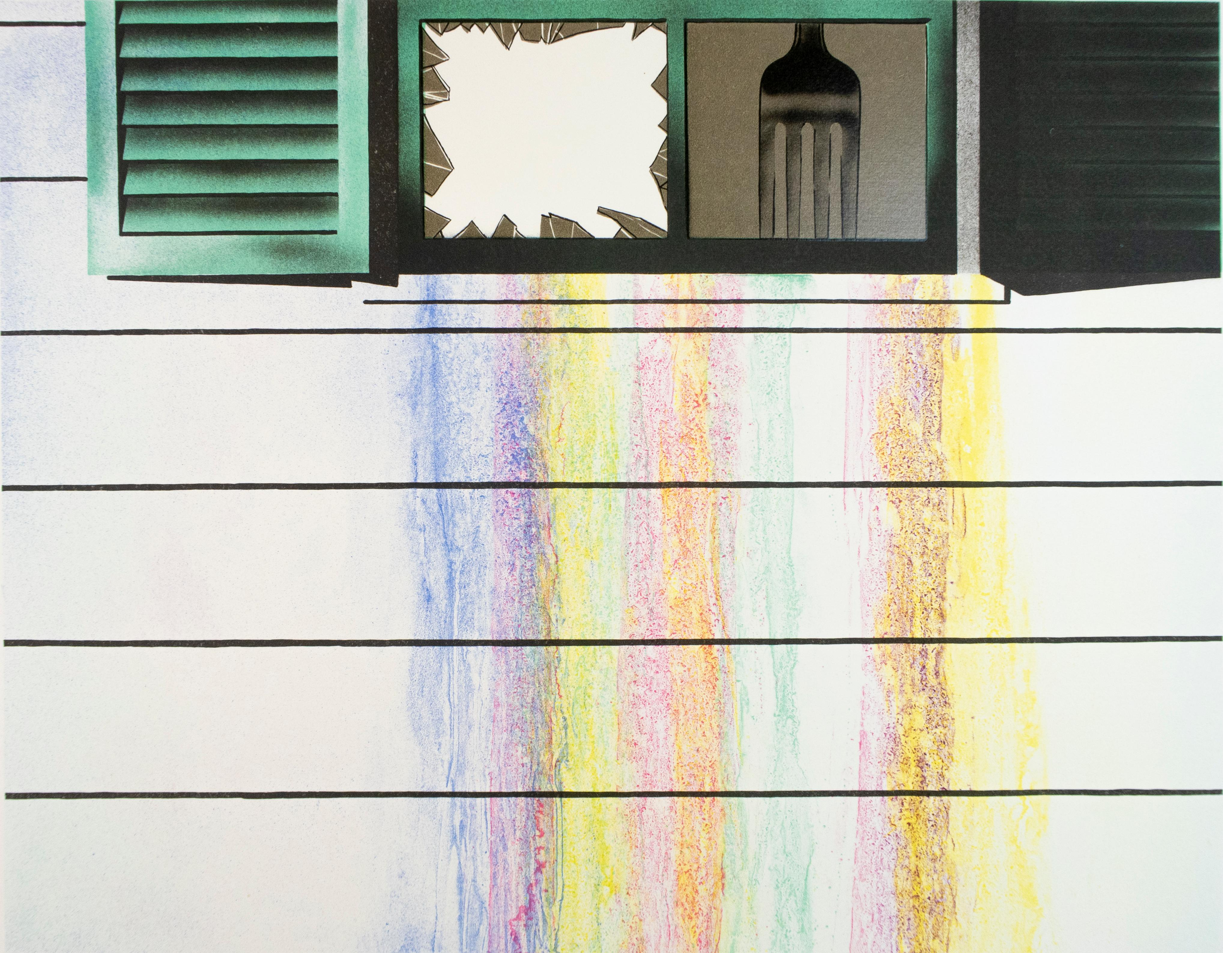 Rainbow: colorful Rosenquist pop art with gold, turquoise, purple, pink, blue