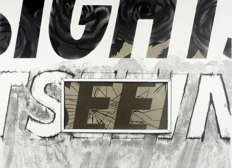 Sightseeing (black pull) James Rosenquist text Pop Art in black and white - Beige Print by James Rosenquist