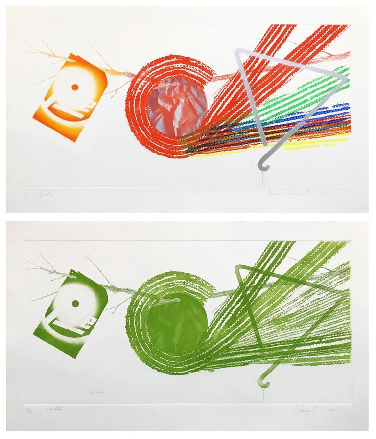 Spokes (1977) and Spokes: 2 State (1978). Each hand signed, dated, numbered and titled by the artist. Both prints have matching editions. Etching and aquatint on Pescia Italia paper. Each sheet size: 23 x 40 in. Edition of 78. Published by