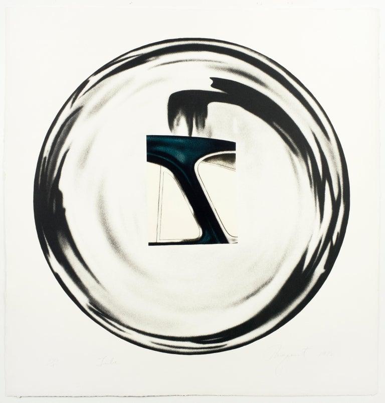 James Rosenquist Print - Tube: Black and white pop art with gleaming chrome
