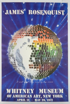 Vintage 1972 James Rosenquist Whitney Museum poster, rainbow Disco ball planet