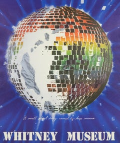 Vintage Disco James Rosenquist 1972 Whitney Museum poster, rainbow mirror planet