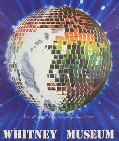 Vintage Disco James Rosenquist 1972 Whitney Museum poster, rainbow mirror planet