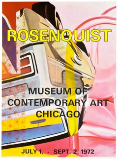 Vintage James Rosenquist poster MOCA Chicago 1972 neon yellow pink chrome