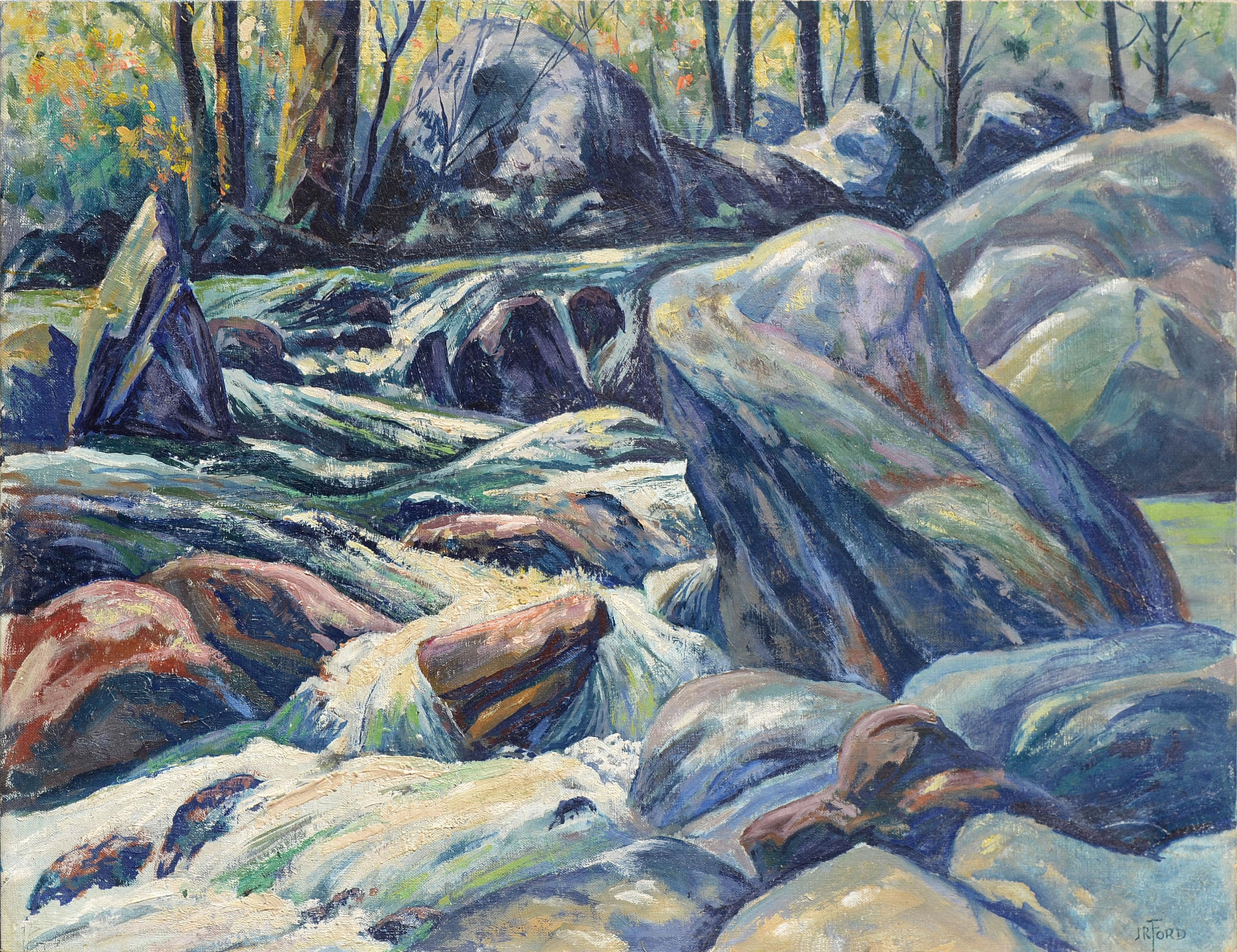 Mid Century Rocky Stream Impressionist Landscape