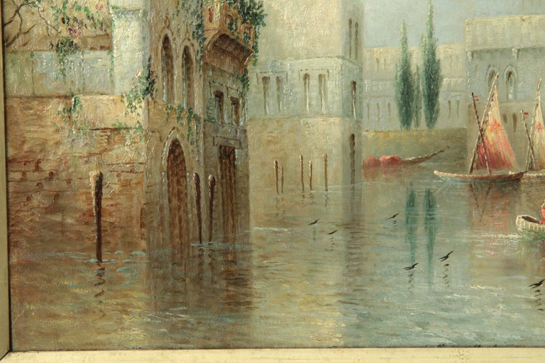 Hand-Painted James Salt Pair of Grand Canal Venetian Capriccio Antique Oil Paintings For Sale