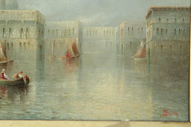 James Salt Pair of Grand Canal Venetian Capriccio Antique Oil Paintings In Good Condition For Sale In Shippensburg, PA