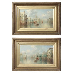 James Salt Pair of Grand Canal Venetian Capriccio Antique Oil Paintings