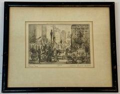 "James Sanford Hulme ""Army Plaza"" Original Signed Etching c.1930"