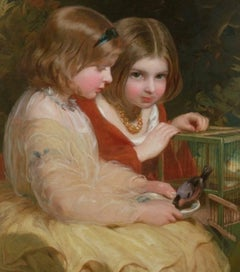The Pet Bullfinch, A Portrait of Two Children by James Sant 19th / 20th Century