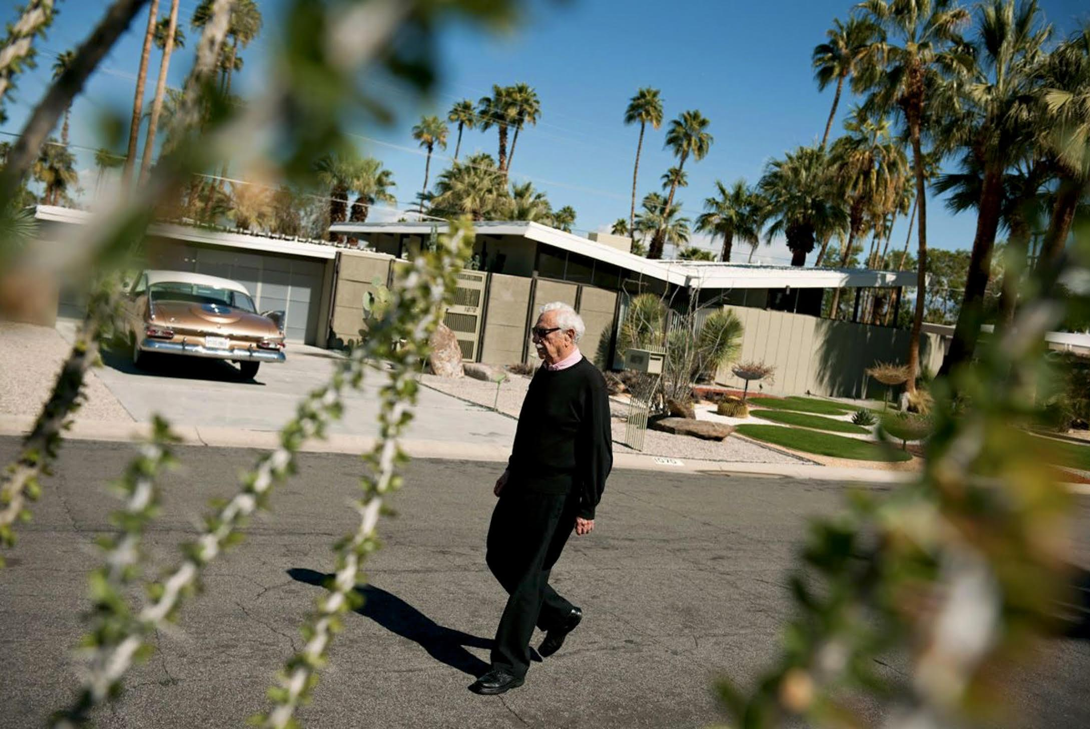"""""""Architect William Krisel Walking in Twin Palms"""" James Schnepf Photograph"""