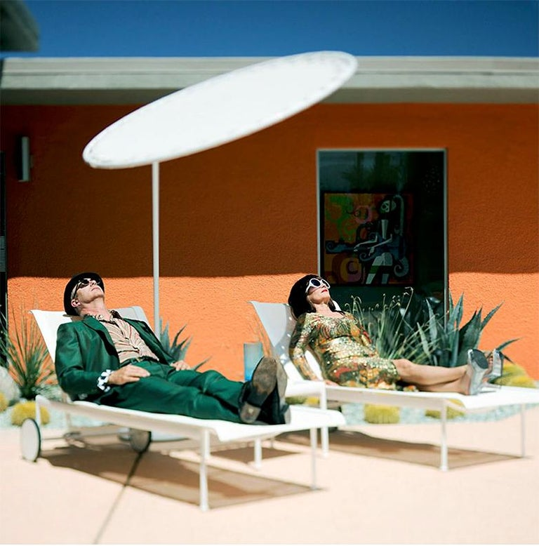 """""""Couple Sunning in Polyester"""" James Schnepf Photograph Modernism Palm Springs - Beige Landscape Photograph by James Schnepf"""