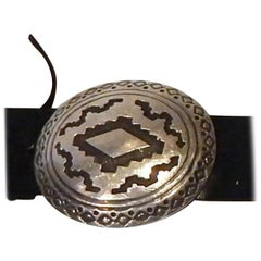 James Shay Navajo Sterling Silver Native American Concho Belt, Marked JS