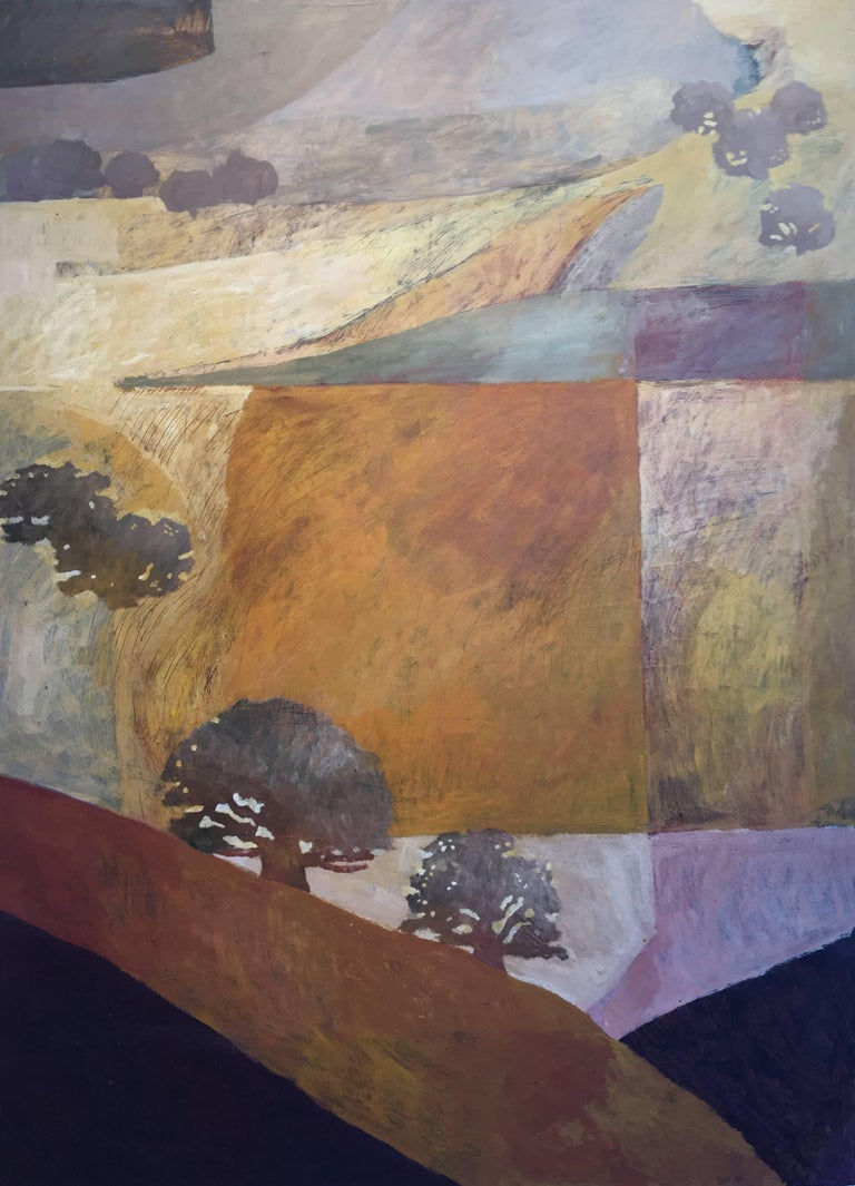"""Near Richard's,"" by California artist James Shay depicts an abstracted hillside populated by trees. The palette is comprised of soft earth tones, ranging from oranges and browns to purples and blue-greens.   The painting is done in casein on panel,"