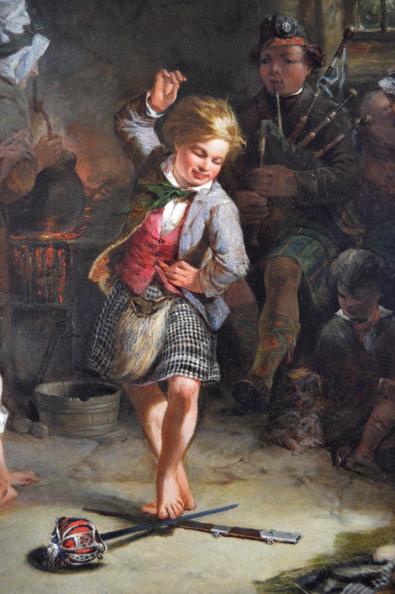 19th Century genre oil painting of a boy performing a sword dance - Brown Figurative Painting by James Stephenson Craig