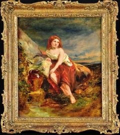 Water Maiden. A Classical and Serene Scene. Original Oil Painting circa 1860.