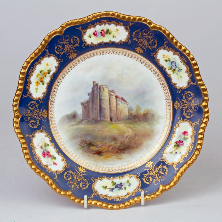 James Stinton Royal Worcester Castle of Doune Hand Painted Cabinet Plate For Sale 6