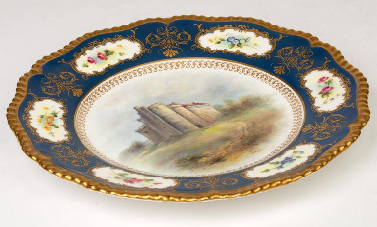 James Stinton Royal Worcester Castle of Doune Hand Painted Cabinet Plate For Sale 7
