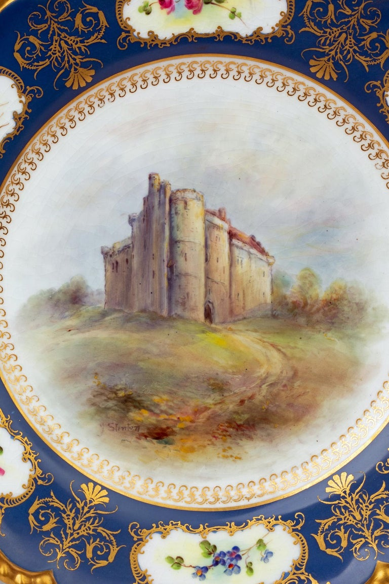 James Stinton Royal Worcester Castle of Doune Hand Painted Cabinet Plate For Sale 8