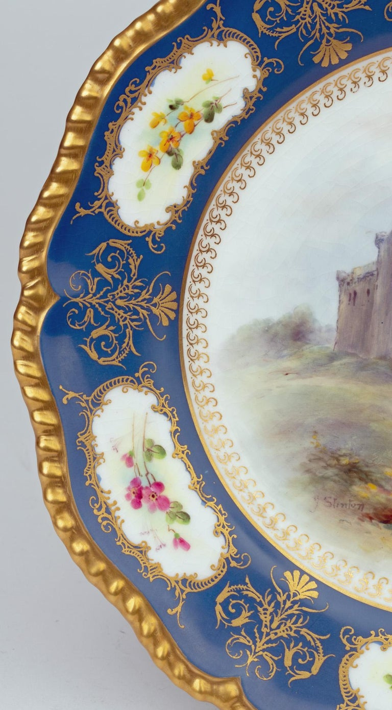James Stinton Royal Worcester Castle of Doune Hand Painted Cabinet Plate For Sale 11