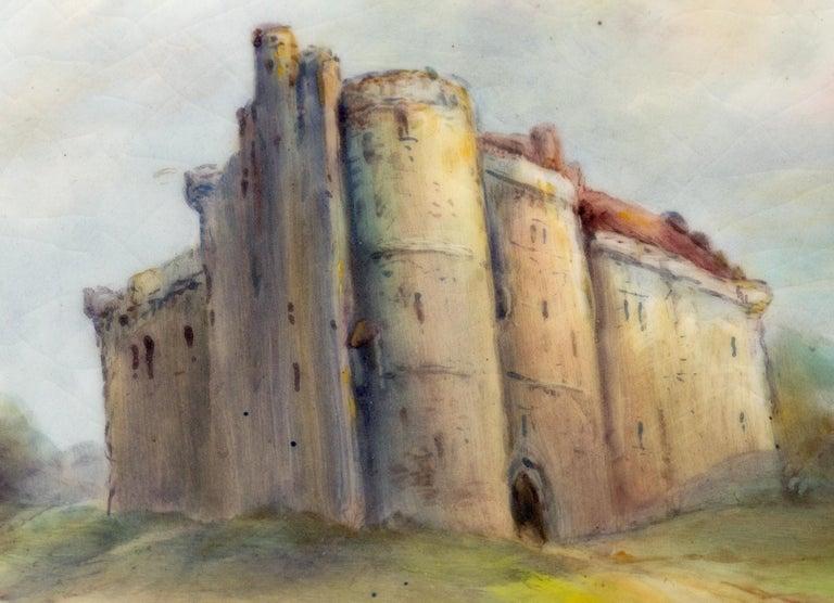 Art Deco James Stinton Royal Worcester Castle of Doune Hand Painted Cabinet Plate For Sale