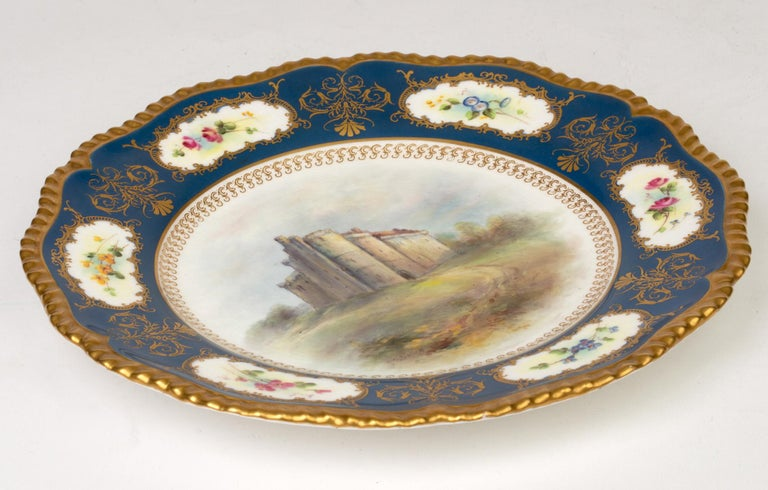 Hand-Painted James Stinton Royal Worcester Castle of Doune Hand Painted Cabinet Plate For Sale