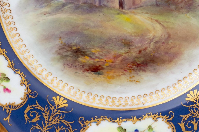 James Stinton Royal Worcester Castle of Doune Hand Painted Cabinet Plate In Good Condition For Sale In Bishop's Stortford, Hertfordshire
