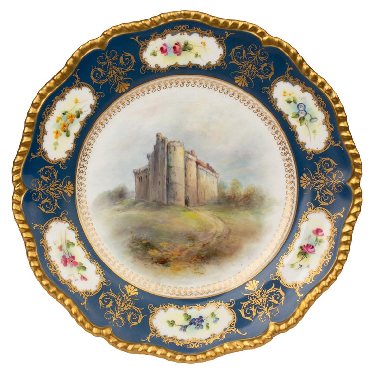 James Stinton Royal Worcester Castle of Doune Hand Painted Cabinet Plate For Sale