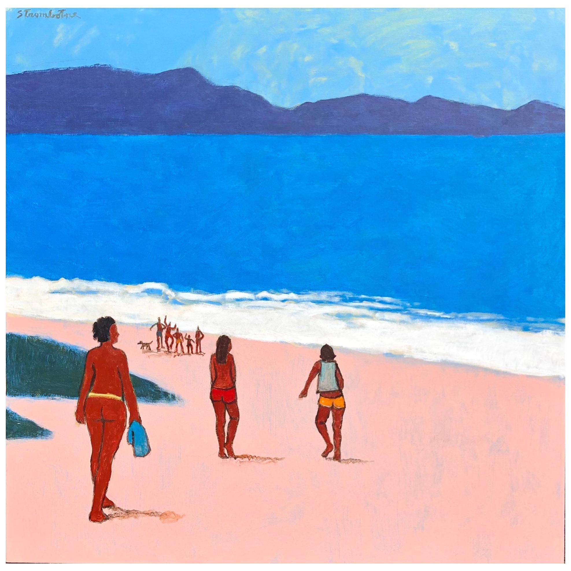 "James Strombotne, Acrylic on Canvas Painting, Titled ""Nude Bathers Big Ocean"""