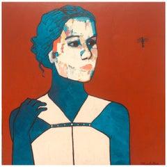 "James Strombotne ""Girl with Hummingbird"" Acrylic on Canvas Painting 2014"