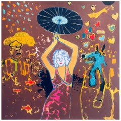 "James Strombotne ""Girl with Parasol"" Acrylic on Canvas Painting 2014"