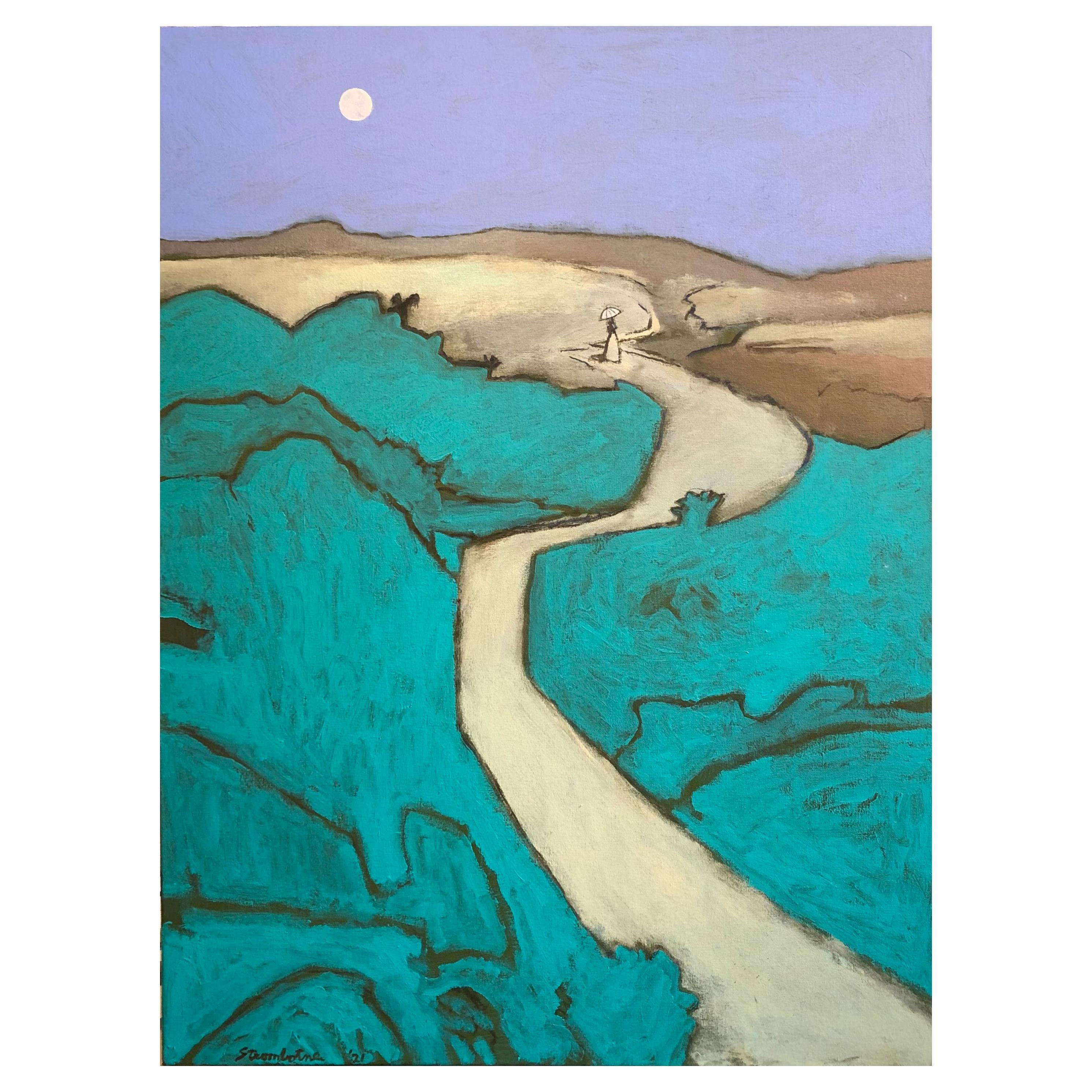 "James Strombotne ""Moon Light Landscape"" Acrylic on Canvas Painting"