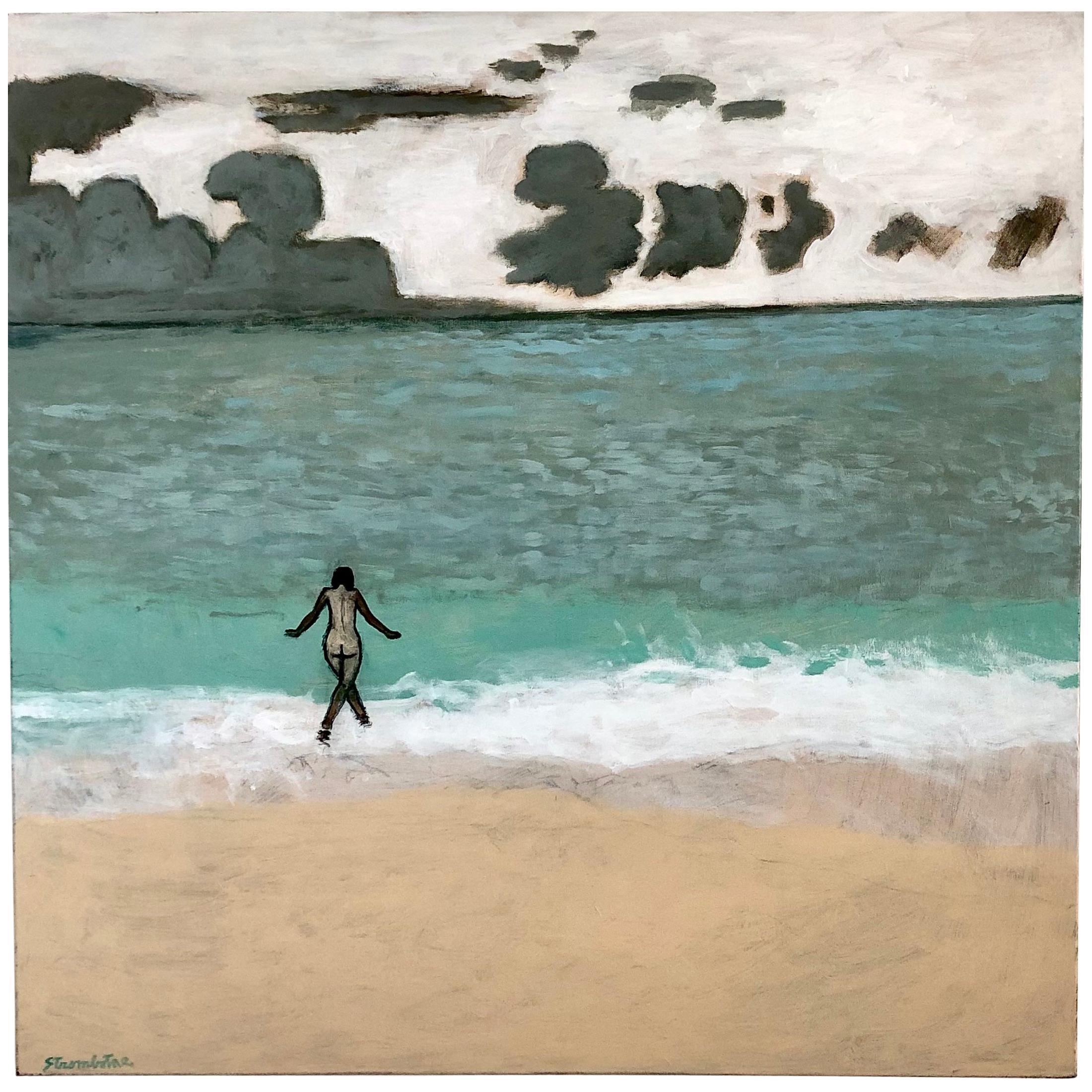 "James Strombotne ""Nude Bather Big Ocean"" Acrylic on Canvas Painting"