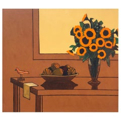 "James Strombotne ""Still Life with Sunflowers"" Acrylic on Canvas Painting, 1998"