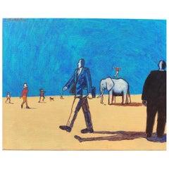 """James Strombotne """"White Elephant"""" Acrylic on Canvas Painting, 2018"""