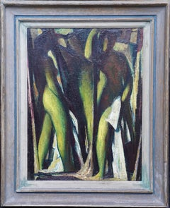 Abstract Nude Figures - British 50's art figurative nude Cubist oil painting