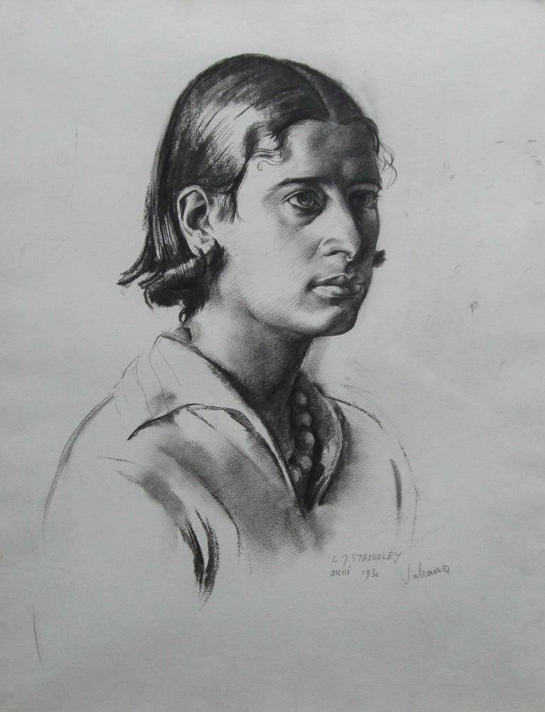Portrait Juliana - British Art Deco pencil chacoal drawing woman necklace 2
