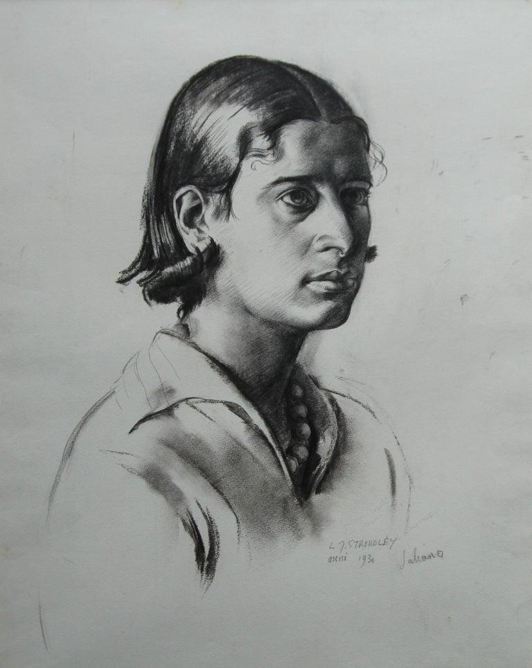 Portrait Juliana - British Art Deco pencil chacoal drawing woman necklace 7