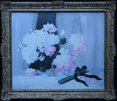 Hydrangea with Fan - Scottish art 19th century Glasgow Boy floral oil painting