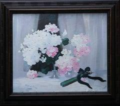 Hydrangea with Fan - Scottish art 19thC Glasgow Boy artist floral oil painting