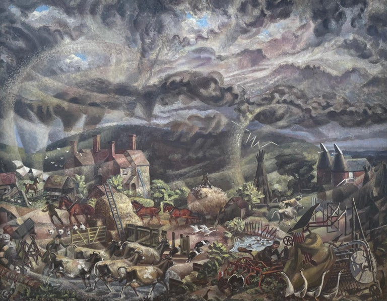 James Thomas Armour Osborne Landscape Painting - The Gathering Storm - 1930s Modern British Oil Painting by James Osborne