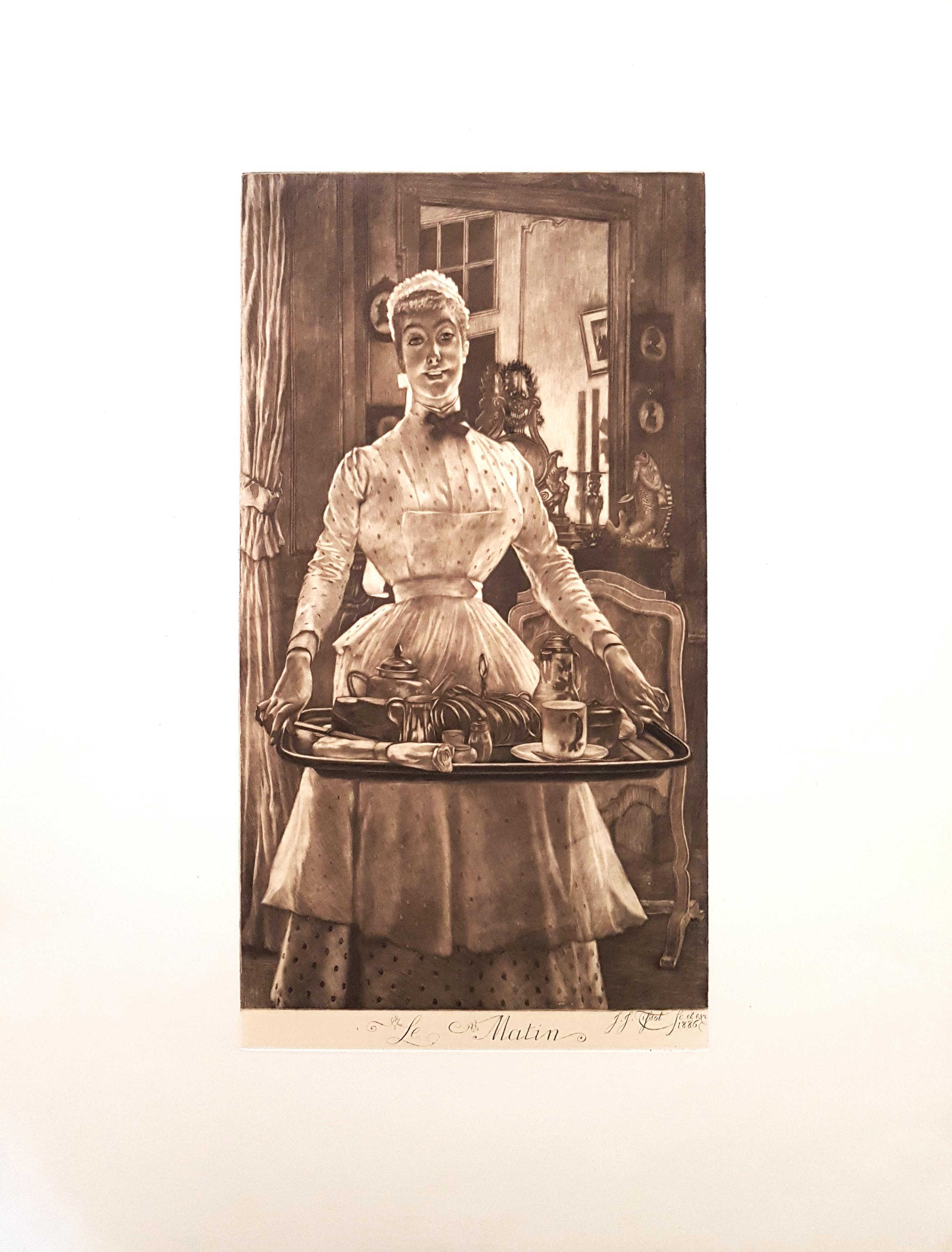 Le Matin - Original Etching by James Tissot - 1886