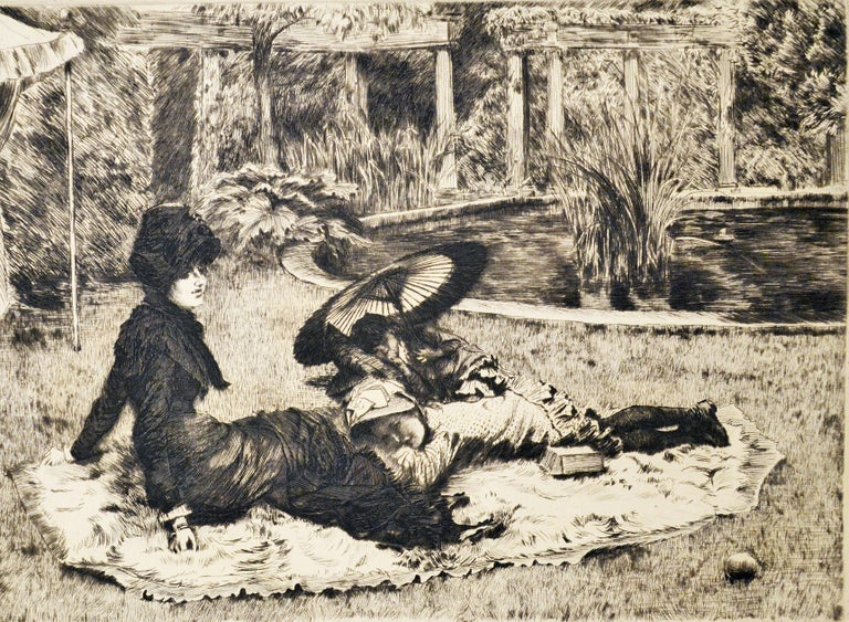 On the Grass - Original Etching and Drypoint by J. Tissot - 1880 - Print by James Tissot