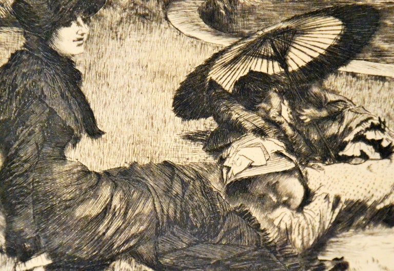 On the Grass - Original Etching and Drypoint by J. Tissot - 1880 - Post-Impressionist Print by James Tissot