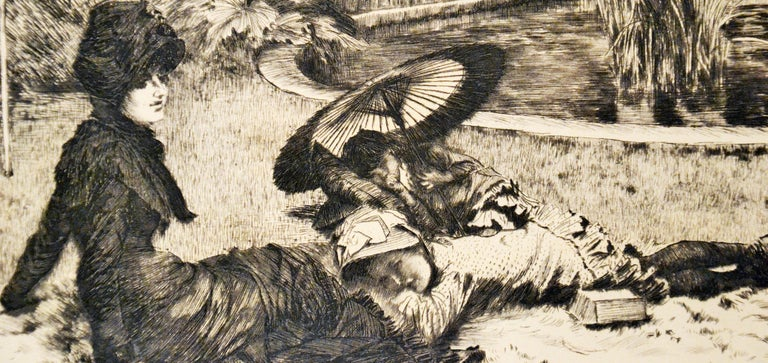On the Grass - Original Etching and Drypoint by J. Tissot - 1880 - Beige Landscape Print by James Tissot