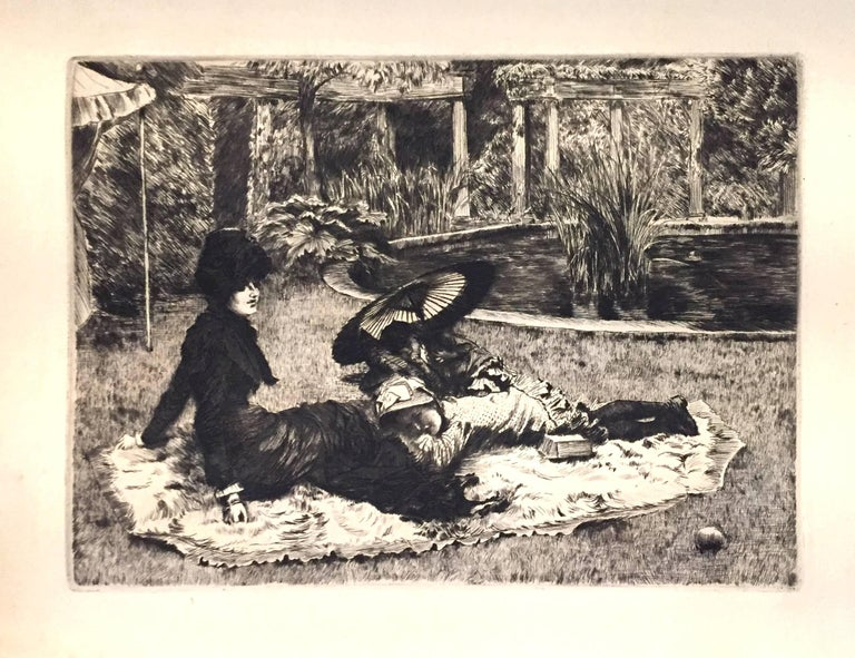 James Tissot Landscape Print - On the Grass - Original Etching and Drypoint by J. Tissot - 1880