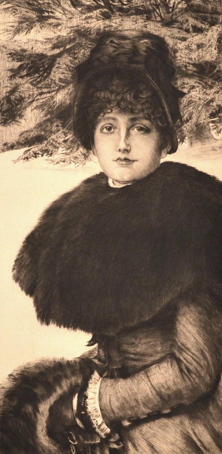 Promenade dans la Neige - Original Etching by J. Tissot - 1880 - Print by James Tissot
