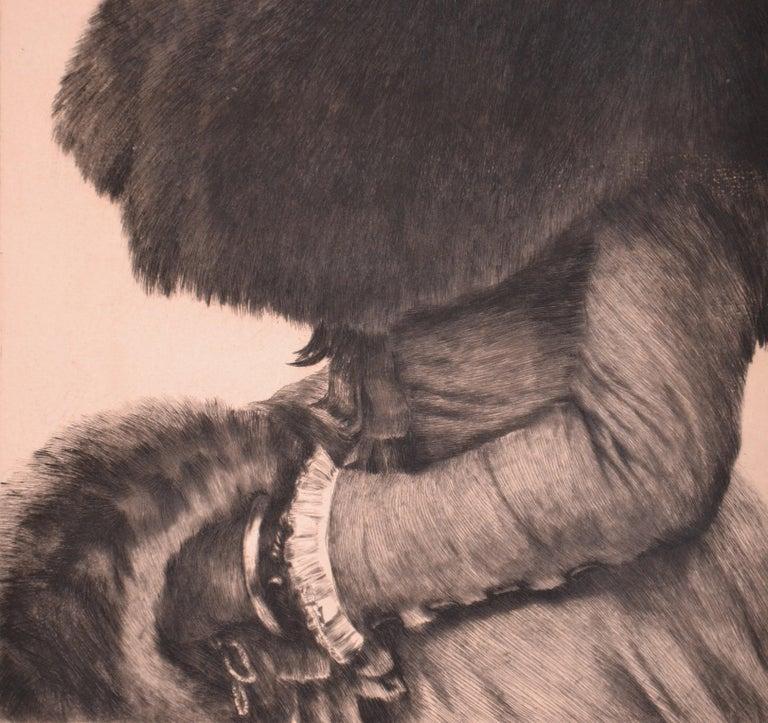 Promenade dans la Neige - Original Etching by J. Tissot - 1880 - Post-Impressionist Print by James Tissot